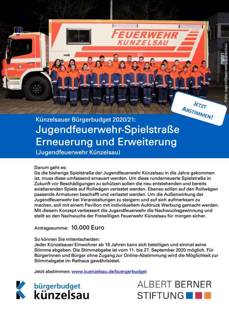 Projekt Künzelsauer-Bürgerbudget, Erneuerung und Erweiterung der Jugendfeuerwehr-Spielstraße